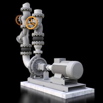 검은색 격리된 배경에 차단 밸브가 있는 산업용 펌프 및 파이프 섹션의 3d 모델입니다. 3d 그림입니다.