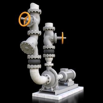 검은 격리 된 공간에 차단 밸브와 산업 펌프 및 파이프 섹션의 3d 모델. 3d 일러스트 레이 션.