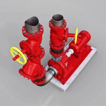 회색 격리된 배경에 차단 밸브가 있는 산업용 펌프 및 파이프 섹션의 3d 모델입니다. 3d 그림입니다.