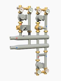 흰색 격리된 배경에 차단 밸브가 있는 산업용 펌프 및 파이프 섹션의 3d 모델입니다. 3d 그림