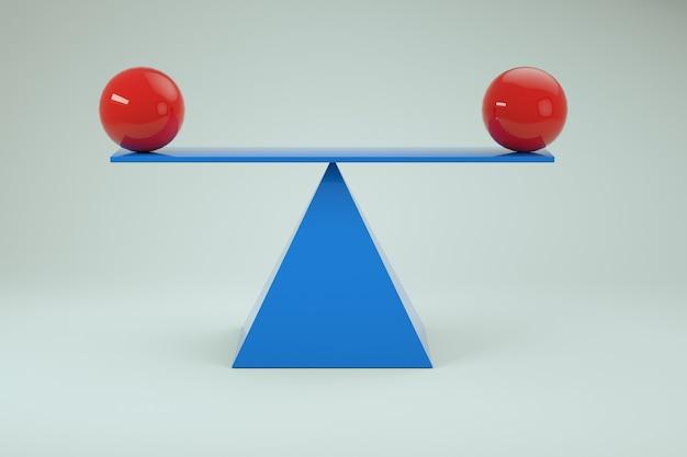 3d модель балансировки красных шаров на весах. синие балансировочные весы с красными шарами на белом изолированном фоне. крупный план