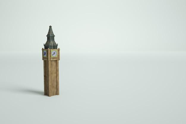 白い孤立した背景にビッグベン時計塔の3dモデル。タワーの3dモデル、グラフィックス。ロンドンのビッグベン時計塔