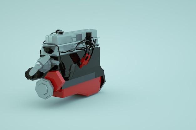 白い孤立した背景上の赤い大きなピストンの機械部分の3dモデル。機械的なスペアパーツ、車の修理。赤い大きなピストン。閉じる