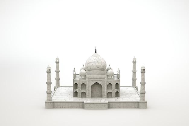 모스크 사원의 3d 모델. 격리 된 흰색 배경에 고 대 이슬람 사원입니다. 3d 그래픽, 모델링. 확대