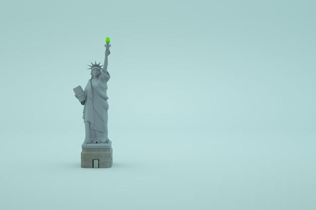 白い孤立した背景に自由の女神の3dモデル。アメリカの自由の女神の灰色の3dアイソメトリックオブジェクト、3dグラフィックス。自由、正義、独立。閉じる