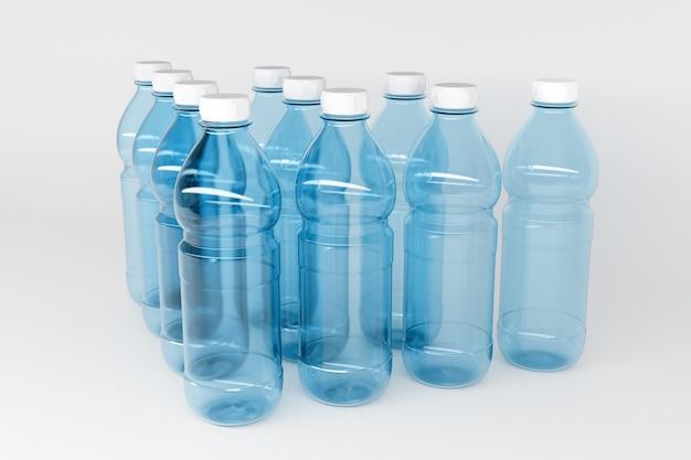 1.5リットルのサイズの透明なプラスチックボトルの3dモデル。ボトルは白い孤立した壁にピラミッドの形で対称的に偶数列に立っています
