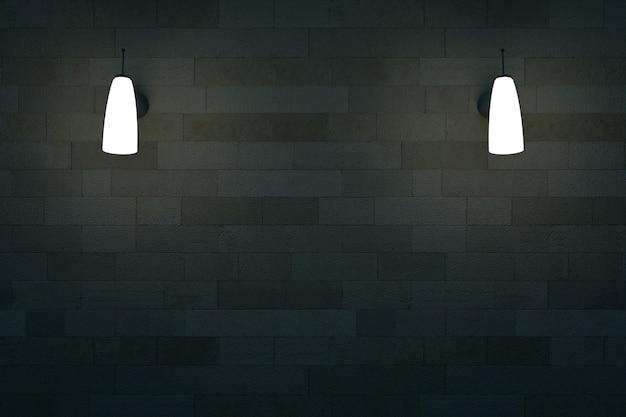 暗い断熱壁の2つの壁ランプの3dモデル黒い壁の照明付き壁ランプ