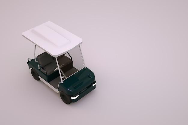 흰색 전기 골프 자동차의 3d 모델입니다. 격리 된 흰색 배경에 흰색 골프 자동차입니다. 3d 그래픽, 관광객을위한 골프 자동차. 클로즈업, 평면도.