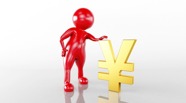 The 3d model rendering controls the yen bill
