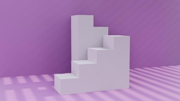 紫の部屋に3 dモデルの階段