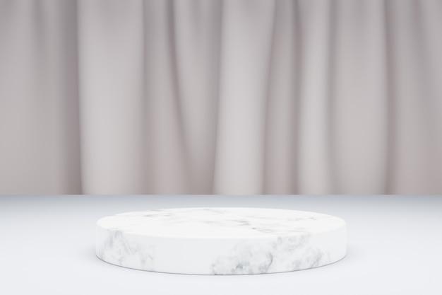 製品のプレゼンテーションと背景のテキスタイルカーテンのための3dモデリング大理石の表彰台