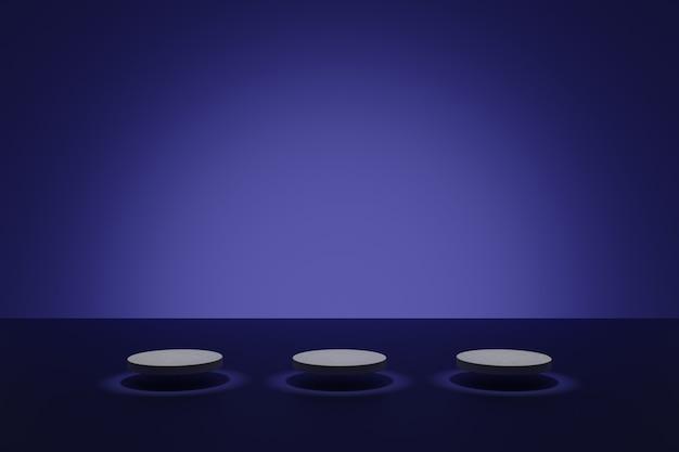보라색 배경에 원통형 연단이 있는 3d 모델링 장면 화장품을 위한 빈 기하학적 모양