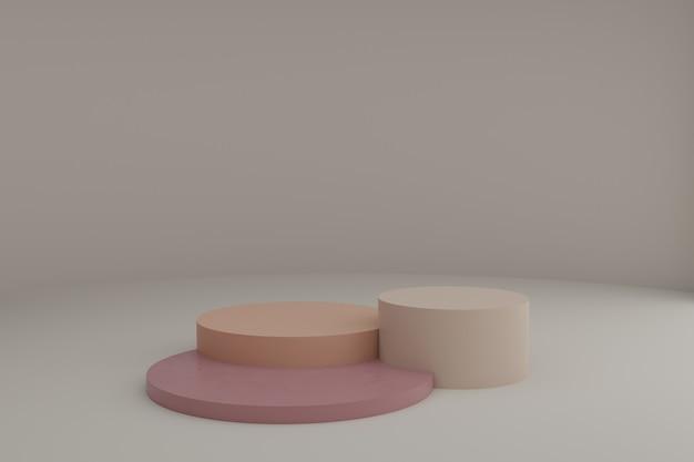 간단한 기하학적 요소가있는 차분한 파스텔 색상의 둥근 연단이있는 3d 모델링 장면