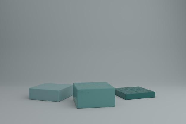 간단한 기하학적 요소가 있는 3d 모델링 장면 기하학적 모양이 있는 빈 쇼케이스 모형
