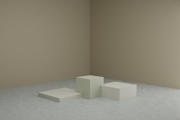 落ち着いたパステルカラーのシンプルな幾何学的要素を持つ3dモデリングシーン