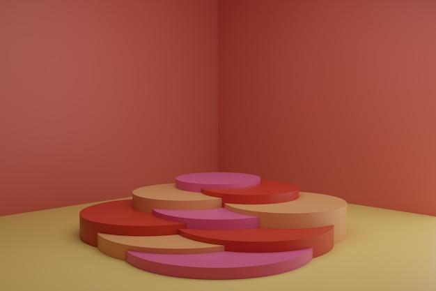 차분한 파스텔 색상의 빈 쇼케이스 모형의 단순한 기하학적 원형 요소가 있는 3d 모델링 장면