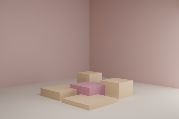차분한 파스텔 색상의 정사각형 연단이있는 3d 모델링 장면
