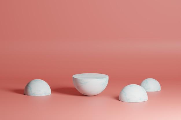 화장품용 산호 배경 빈 연단에 흰색 기하학적 모양이 있는 3d 모델링 장면