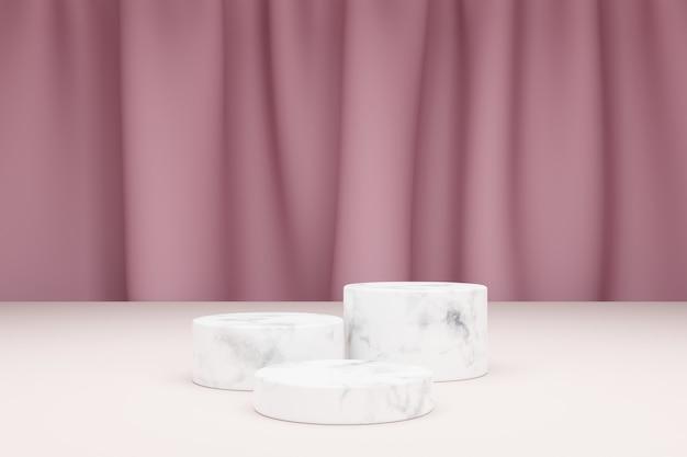 製品プレゼンテーションと背景のテキスタイルカーテン用の3つの大理石シリンダーの3dモデリング