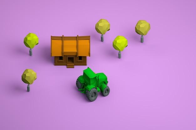 孤立したピンクの背景に木造住宅、木々、緑のトラクターの3dモデル。黄色の葉。農村地域。エリアビュー。