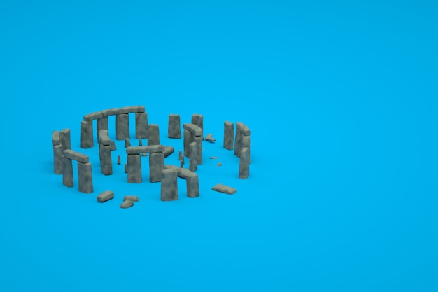 고 대 망 쳐 돌의 3d 모델 파란색 격리 된 배경에 유적. 고대 유적의 3d 표현입니다. 파란색 배경에 건물 파괴