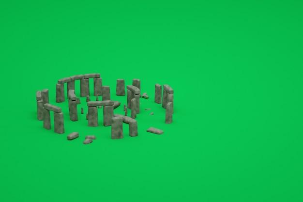 고 대 망 쳐 돌의 3d 모델 녹색 격리 된 배경에 유적. 고대 유적의 3d 표현입니다. 고대 유적의 3d 이미지, 오래된 파괴 건물의 아이소 메트릭 개체