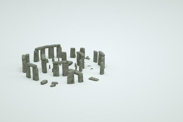고 대 망 쳐 돌의 3d 모델 격리 된 흰색 배경에 유적. 고대 유적의 3d 이미지, 오래된 파괴 건물의 아이소 메트릭 개체, 그래픽