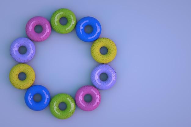 青い孤立した背景上のさまざまな、マルチカラーの艶をかけられたドーナツの3dモデル。円形に配置された等尺性ドーナツ。 3dグラフィックス、クローズアップ。
