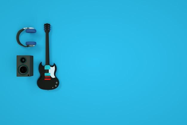 기타, 헤드폰 및 스피커의 3d 모델. 일렉트릭 기타, 앰프 및 헤드폰. 컴퓨터 그래픽, 악기 및 악기. 상위 뷰, 파란색 배경