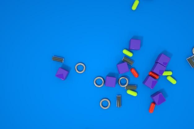 3d модели мелких разрозненных вещей. таблетки, мелкие детали. компьютерная графика, случайные разбросанные детали на цветном фоне