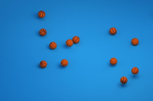 スポーツボールの3dモデル。バスケットボールをするためのオレンジ色の革のボール。孤立した青い背景に丸いオレンジ色のバスケットボールがたくさん。