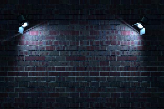暗いレンガの壁にあるウォールランプの3dモデル2つのウォールランプが空間を照らします