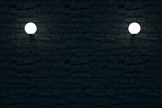 白い丸い壁のランプの3dモデル暗い石の壁に丸い壁に取り付けられた照らされたランプ