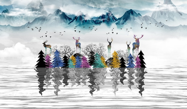 3d modern art mural wallpaper landscape with dark blue jungle forest gray background colored trees