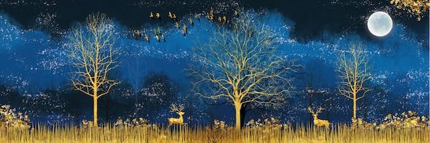 진한 파란색 정글 숲 배경 황금 사슴 금 나무와 3d 현대 미술 벽화 벽지 프리미엄 사진