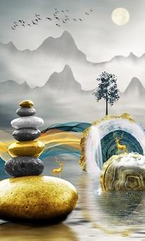 3dモダンキャンバスアート壁画壁紙風景湖と波線の背景