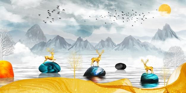 3dモダンキャンバスアート壁画壁紙風景湖の背景黄金の鹿とクリスマスツリー