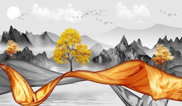 3dモダンキャンバスアート壁画壁紙風景湖の背景黄金の木灰色の山々