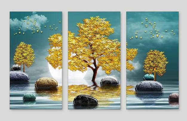 3dモダンキャンバスアート壁画壁紙風景湖の背景水と黄金の木の月