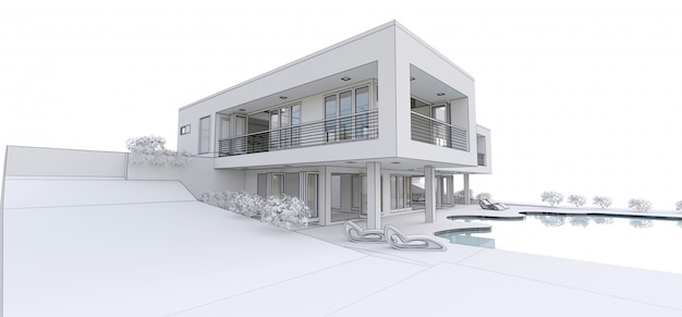 3d modern house,  . 3d illustration.