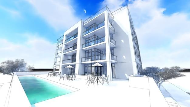 3d современный дом на белом фоне 3d иллюстрации