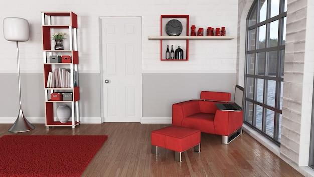 Interni moderni della sala 3d