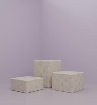3d современный мраморный подиум макет с фиолетовым фоном