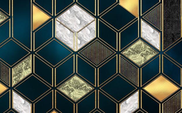 3d modern mural wallpaper  golden lines geometric forms in dark background