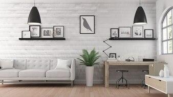 3D modern office room interior