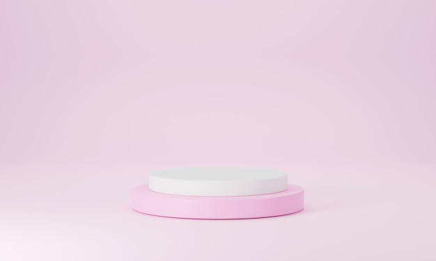 3d modern pink and white round podium with pink pastel empty room background scene stage mockup