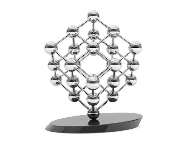 흰색 배경에 큐브로 3d 분자 구조