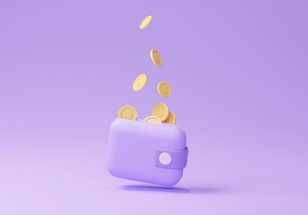 Деньги 3d держа фиолетовый бумажник, монету, банкноту на изолированном фиолетовом фоне, онлайн-оплату и концепцию оплаты. 3d визуализация кошелька для бизнеса, банка, финансов, инвестиций, экономии денег,