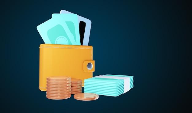 Концепция значка экономии денег 3d. бумажник, счет, стопка монет. 3d иллюстрация