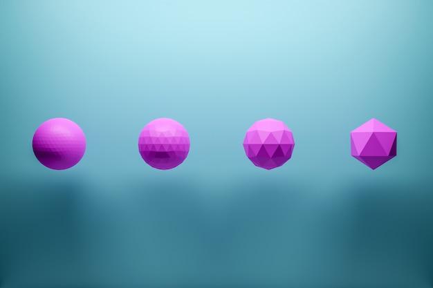 3 dモノクロピンクとブルーのイラスト:多くの顔を持つ翼のあるボールの行。